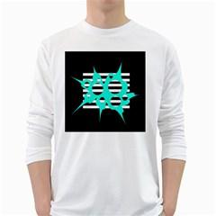 Cyan abstract design White Long Sleeve T-Shirts