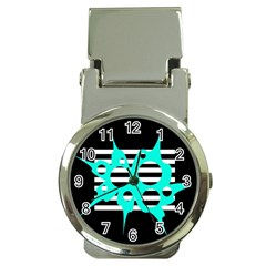 Cyan abstract design Money Clip Watches