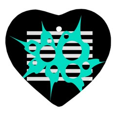Cyan abstract design Heart Ornament (2 Sides)