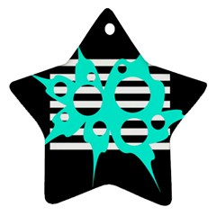 Cyan abstract design Star Ornament (Two Sides)