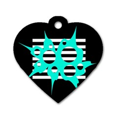 Cyan abstract design Dog Tag Heart (One Side)