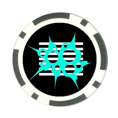 Cyan abstract design Poker Chip Card Guards