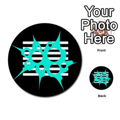 Cyan abstract design Multi-purpose Cards (Round)