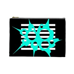 Cyan abstract design Cosmetic Bag (Large)