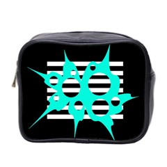 Cyan abstract design Mini Toiletries Bag 2-Side