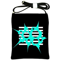 Cyan abstract design Shoulder Sling Bags