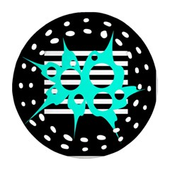 Cyan abstract design Round Filigree Ornament (2Side)