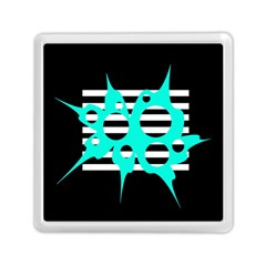 Cyan abstract design Memory Card Reader (Square)