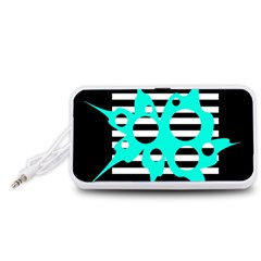 Cyan abstract design Portable Speaker (White)