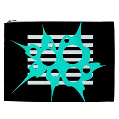 Cyan abstract design Cosmetic Bag (XXL)