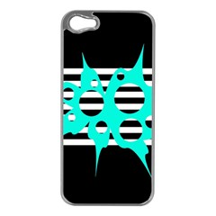 Cyan abstract design Apple iPhone 5 Case (Silver)