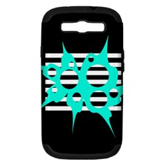 Cyan abstract design Samsung Galaxy S III Hardshell Case (PC+Silicone)