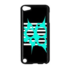 Cyan abstract design Apple iPod Touch 5 Case (Black)