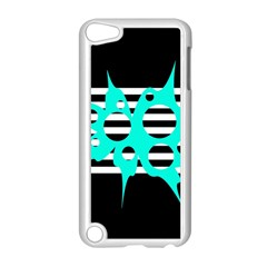 Cyan abstract design Apple iPod Touch 5 Case (White)