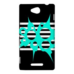 Cyan abstract design Sony Xperia C (S39H)
