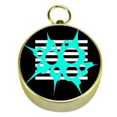 Cyan abstract design Gold Compasses