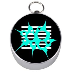 Cyan abstract design Silver Compasses