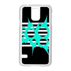 Cyan abstract design Samsung Galaxy S5 Case (White)