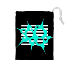 Cyan abstract design Drawstring Pouches (Large)