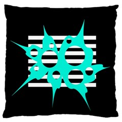 Cyan abstract design Large Flano Cushion Case (One Side)