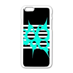Cyan abstract design Apple iPhone 6/6S White Enamel Case