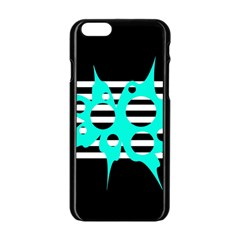 Cyan abstract design Apple iPhone 6/6S Black Enamel Case