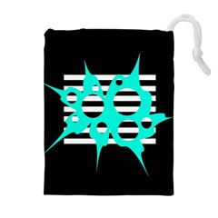 Cyan abstract design Drawstring Pouches (Extra Large)
