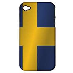 Flag Of Sweden Apple iPhone 4/4S Hardshell Case (PC+Silicone)