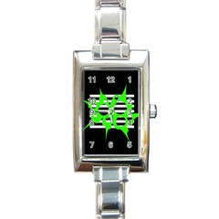 Green abstract design Rectangle Italian Charm Watch
