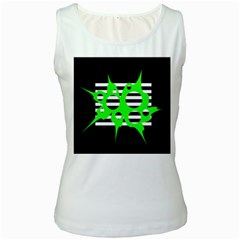 Green abstract design Women s White Tank Top