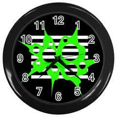 Green abstract design Wall Clocks (Black)
