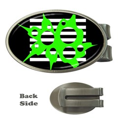 Green abstract design Money Clips (Oval)