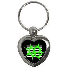 Green abstract design Key Chains (Heart)