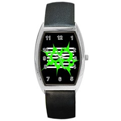 Green abstract design Barrel Style Metal Watch