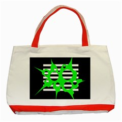 Green abstract design Classic Tote Bag (Red)