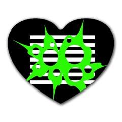 Green abstract design Heart Mousepads