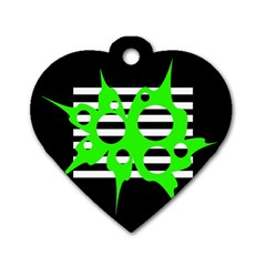 Green abstract design Dog Tag Heart (Two Sides)