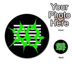Green abstract design Multi-purpose Cards (Round)