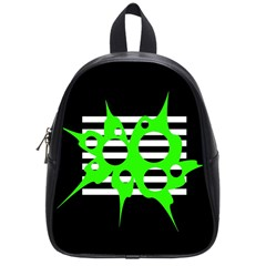 Green abstract design School Bags (Small)
