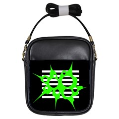 Green abstract design Girls Sling Bags