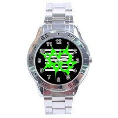 Green abstract design Stainless Steel Analogue Watch