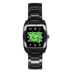 Green abstract design Stainless Steel Barrel Watch