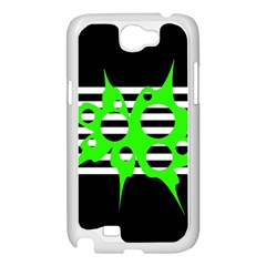 Green abstract design Samsung Galaxy Note 2 Case (White)