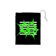 Green abstract design Drawstring Pouches (Small)