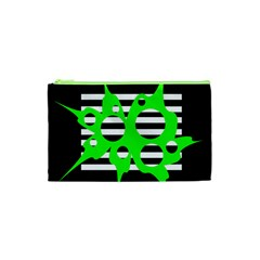 Green abstract design Cosmetic Bag (XS)