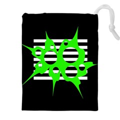 Green abstract design Drawstring Pouches (XXL)