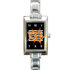 Orange abstract design Rectangle Italian Charm Watch