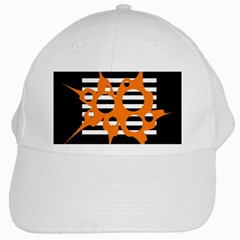 Orange abstract design White Cap