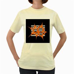 Orange abstract design Women s Yellow T-Shirt