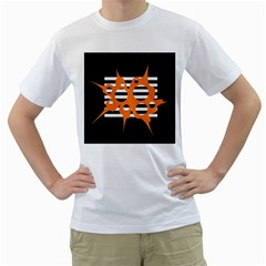 Orange abstract design Men s T-Shirt (White) (Two Sided)